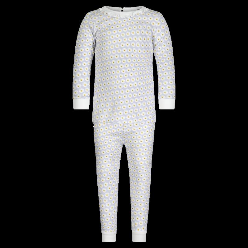Lila + Hayes Lila + Hayes Ava- Daises Ruffled Neck 2pc Pajama Set