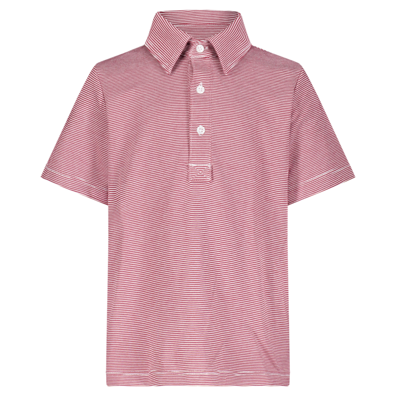 Lila + Hayes Lila + Hayes Griffin- Red and White Stripe Golf Shirt