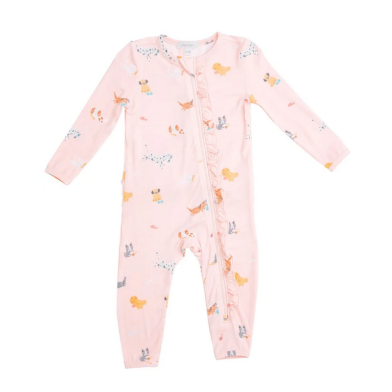 Angel Dear Angel Dear Puppy Play Pink Zipper Romper