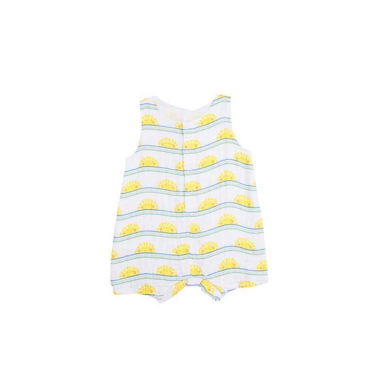 Angel Dear Angel Dear Sun Stripe Shortie Romper Blue