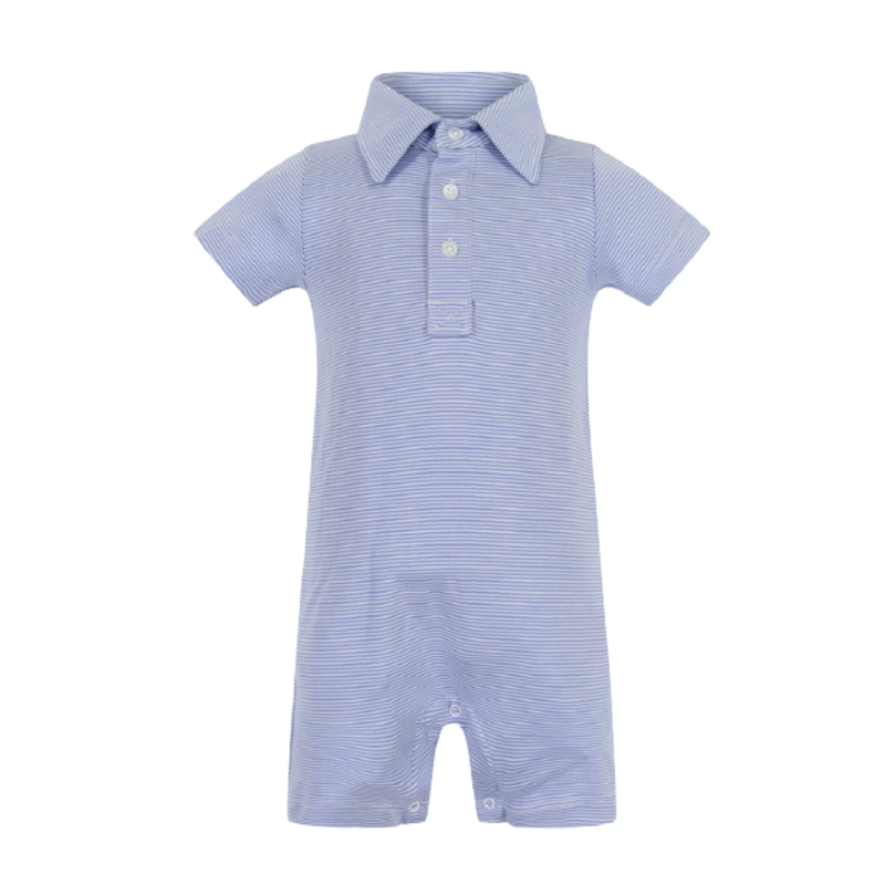 Lila + Hayes Lila + Hayes Tripp- Blue and White Stripe Polo Shortall