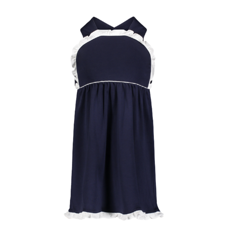 Lila + Hayes Lila + Hayes Eden- Navy With White Piping Dress