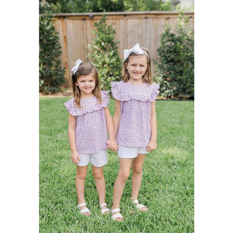 Lila + Hayes Lila + Hayes Penelope- Strawberry Fields Ruffle Cap Sleeve Top & Short Set
