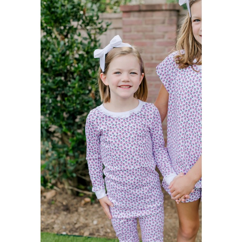 Lila + Hayes Lila + Hayes Ava- Strawberry Fields Ruffled Neck 2pc Pajama Set