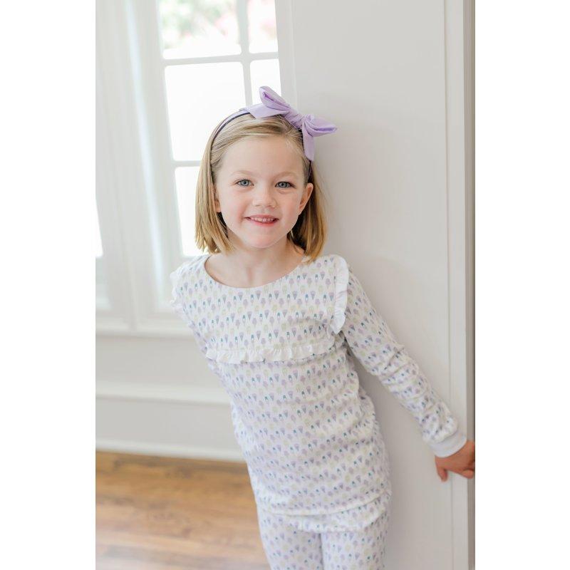 Lila + Hayes Lila + Hayes Taylor- Ice Cream Delight Ruffled Placket and Sleeve 2pc Pajama Set