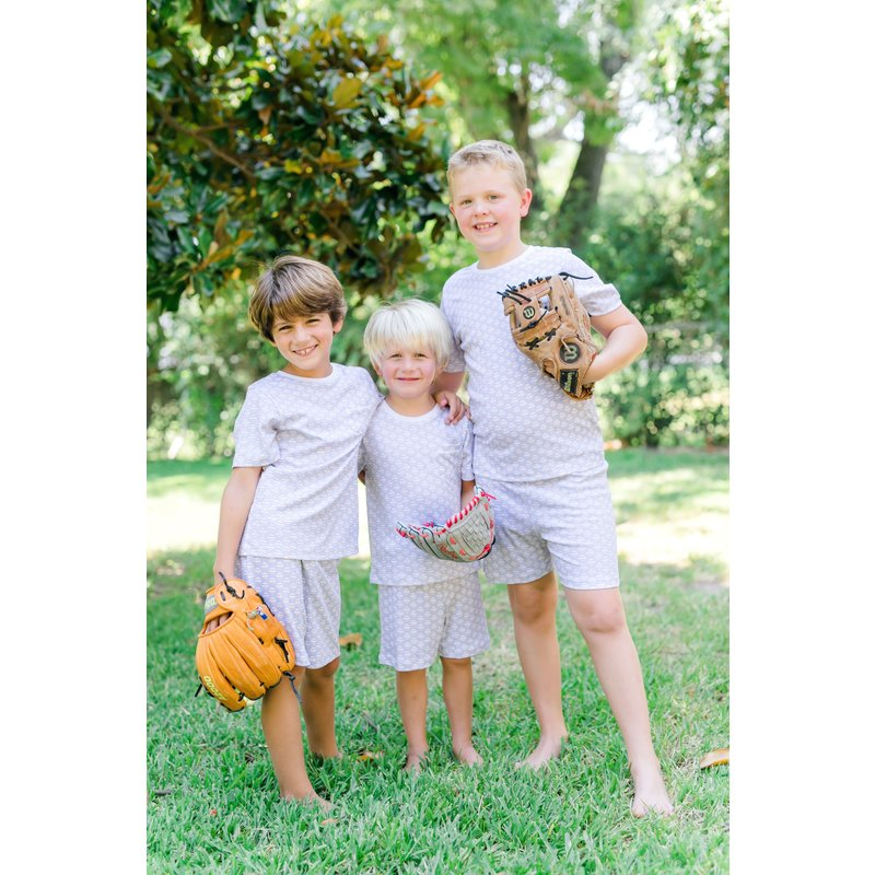 Lila + Hayes Lila + Hayes Charles Set- Baseballs Pocket T-Shirt & Short Set