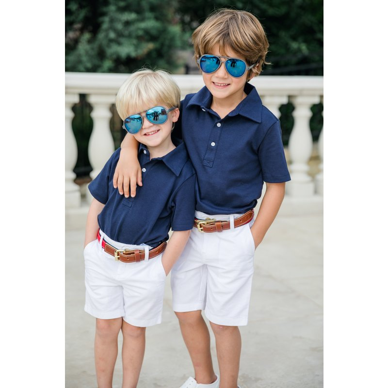 Lila + Hayes Lila + Hayes Griffin- Navy Golf Shirt