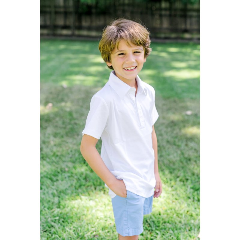 Lila + Hayes Lila + Hayes Griffin- White Golf Shirt