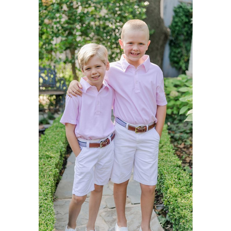 Lila + Hayes Lila + Hayes Griffin- Pink and White Stripe Golf Shirt