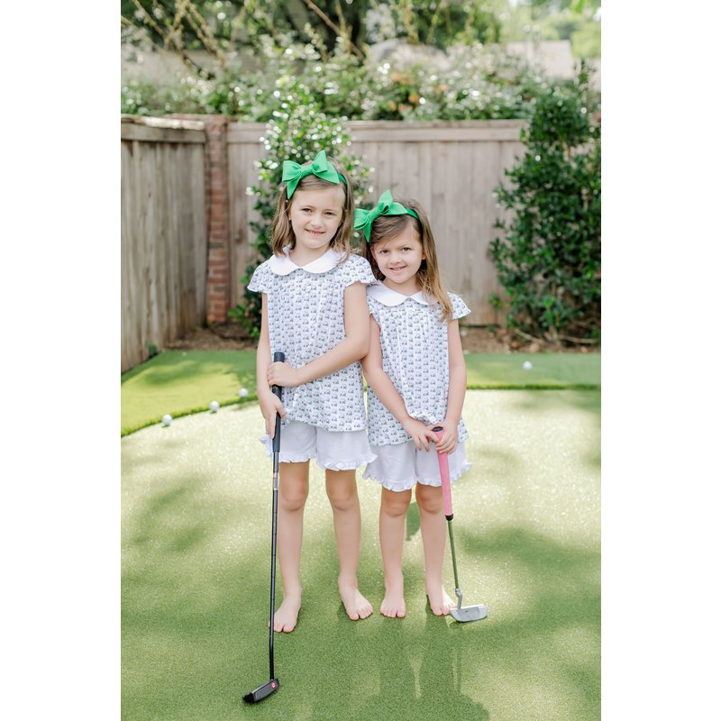 Lila + Hayes Lila + Hayes Minden- Golf Carts Peter Pan Collar Top and Short Set