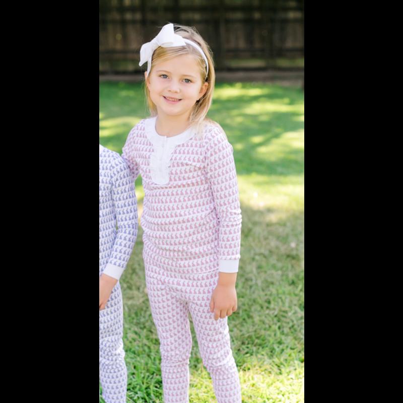 Lila + Hayes Lila + Hayes Alden- Pink Bunny Love 2pc Pajama Set