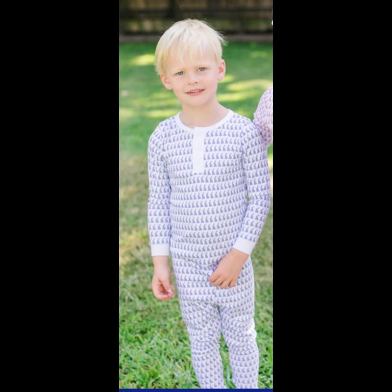 Lila + Hayes Lila + Hayes Jack- Blue Bunny Love Button Placket 2pc Pajama Set