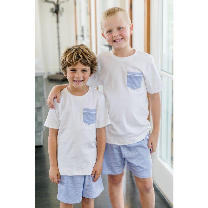 Lila + Hayes Lila + Hayes Charles Set- White Pocket T-Shirt & Blue W Stripe Short Set