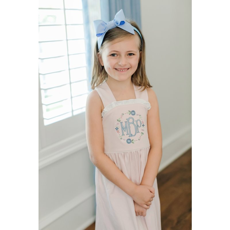 Lila + Hayes Lila + Hayes Eden- Light Pink With White Piping Dress