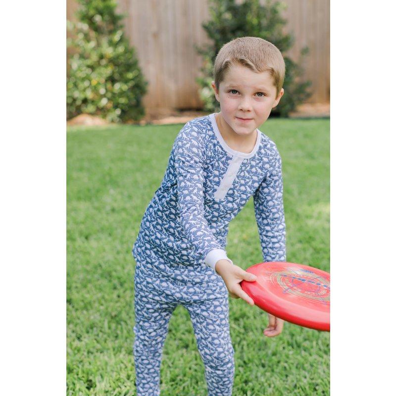 Lila + Hayes Lila + Hayes Jack- Dinosaurs Button Placket 2pc Pajama Set