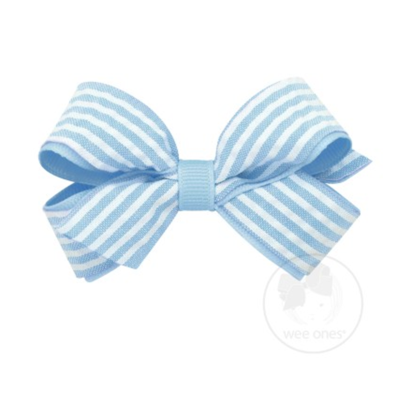 Wee Ones Bows Wee Ones Mini Blue Seersucker Bow