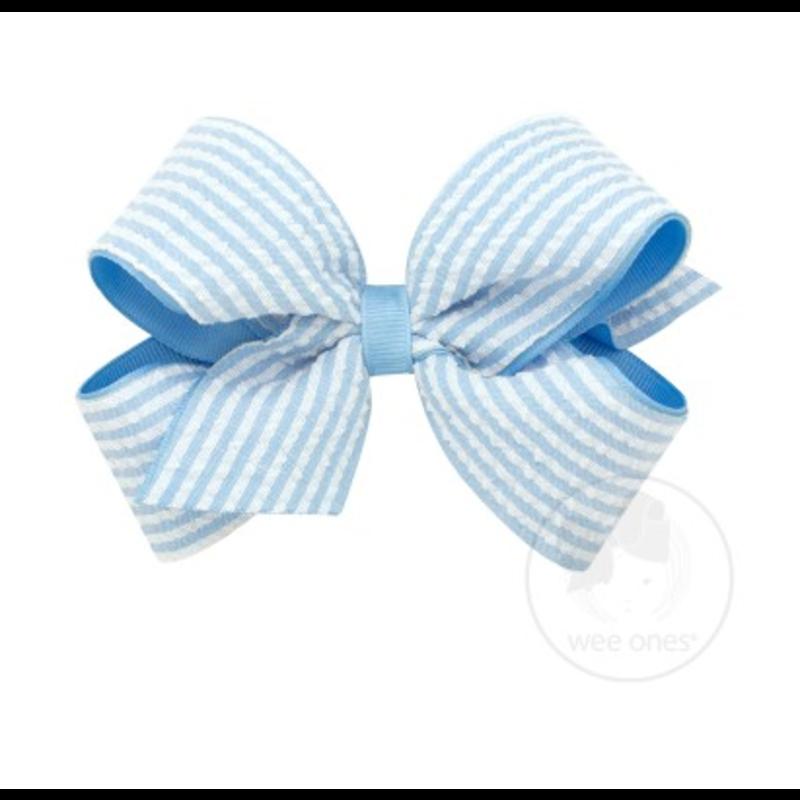 Wee Ones Bows Wee Ones Medium Blue Seersucker Bow