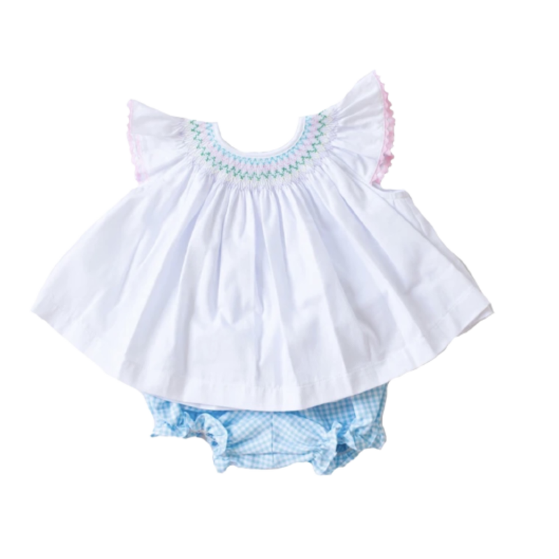 Peggy Green Peggy Green Millie Bloomer Set - White Rib Top w Pond Gingham Bloomer