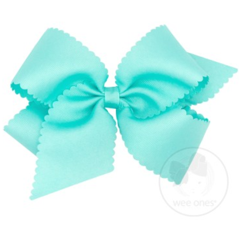 Wee Ones Bows Wee Ones King Aqua Scallop Edge Bow