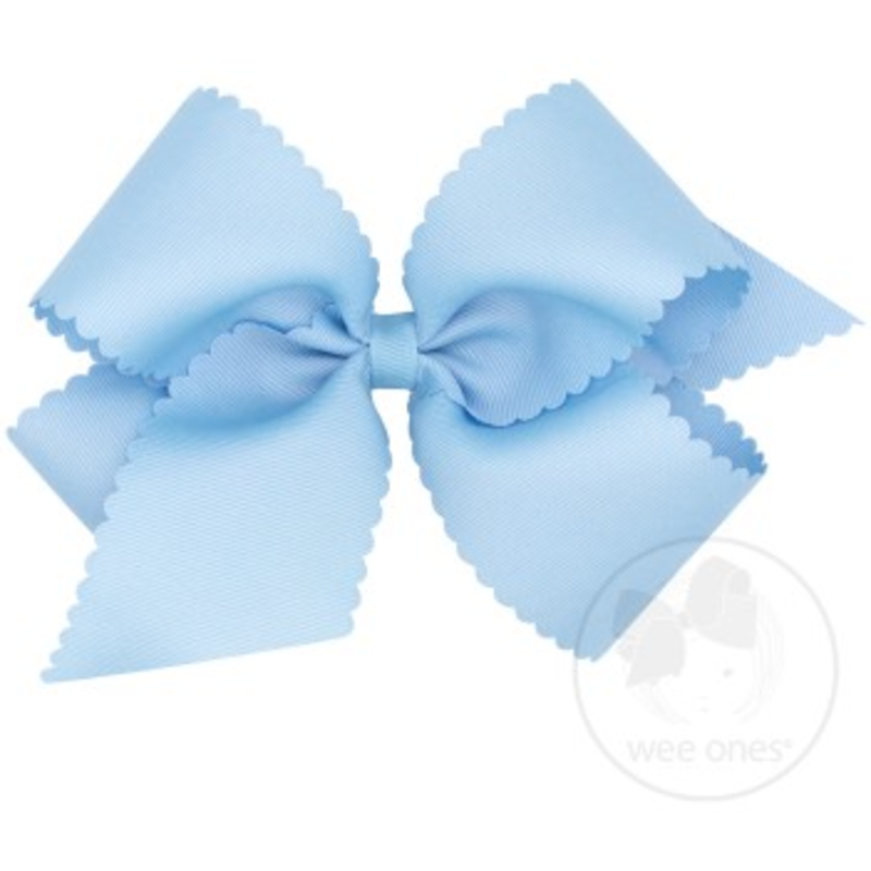 Wee Ones Bows Wee Ones King Millenium Blue Scallop Edge Bow