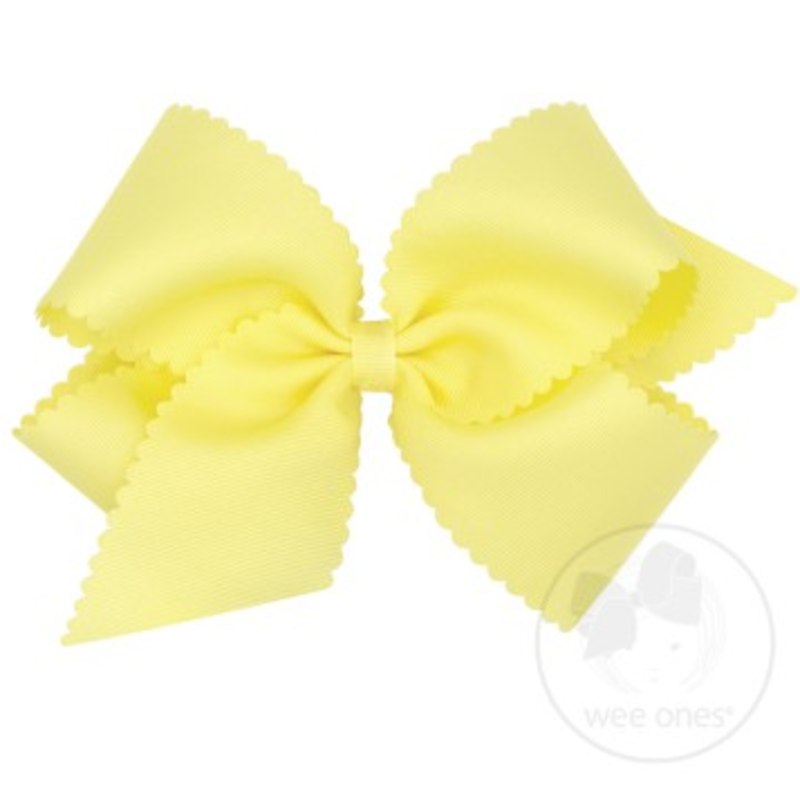 Wee Ones Bows Wee Ones King Light Yellow Scallop Edge Bow