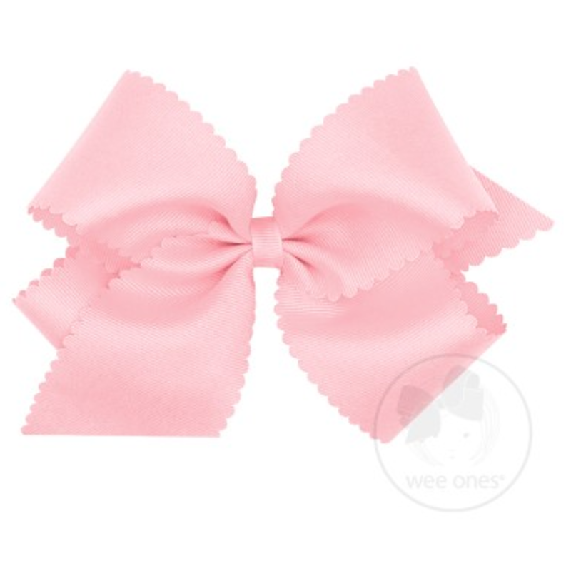 Wee Ones Bows Wee Ones King Light Pink Scallop Edge Bow