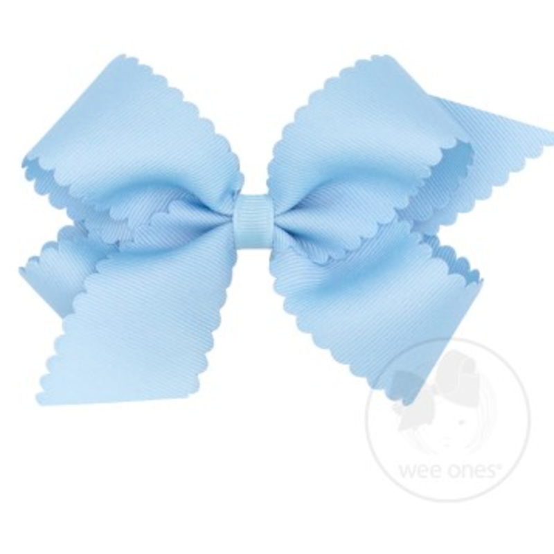 Wee Ones Bows Wee Ones Medium Millenium Blue Scallop Edge Bow