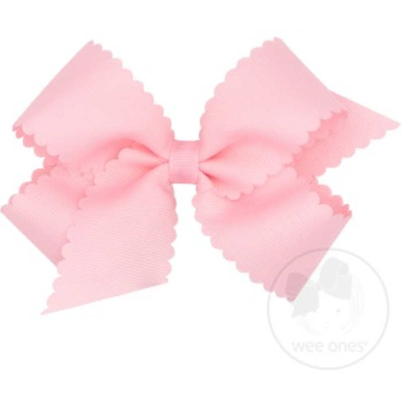 Wee Ones Bows Wee Ones Medium Light Pink Scallop Edge Bow