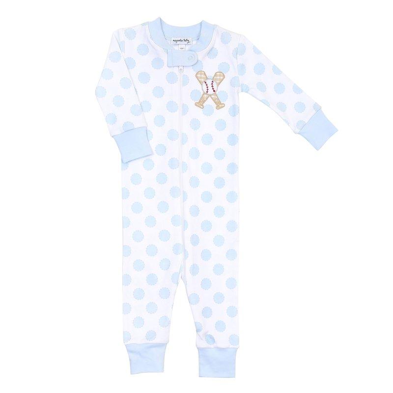 Magnolia Baby Magnolia Baby Grand Slam Applique Light Blue Zipped Pajama