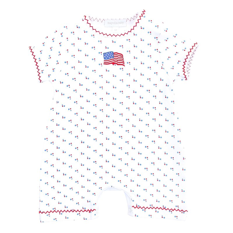 Magnolia Baby Magnolia Baby Vintage red, White, and Blue Emb Short Playsuit
