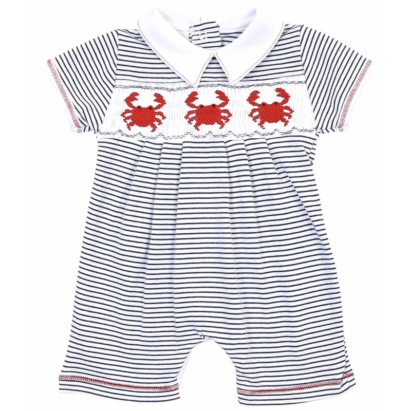 Magnolia Baby Magnolia Baby Crab-ulous Smocked Collared Short Playsuit