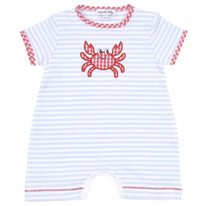 Magnolia Baby Magnolia Baby Gingham Crab Applique Blue Short Playsuit