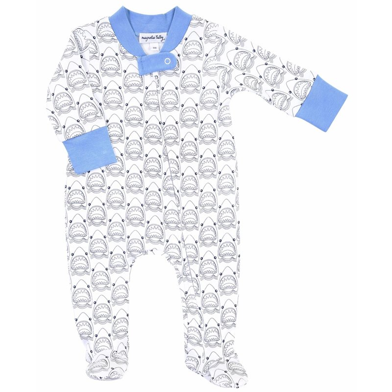 Magnolia Baby Magnolia Baby Jaws Blue Printed Zipped Footie
