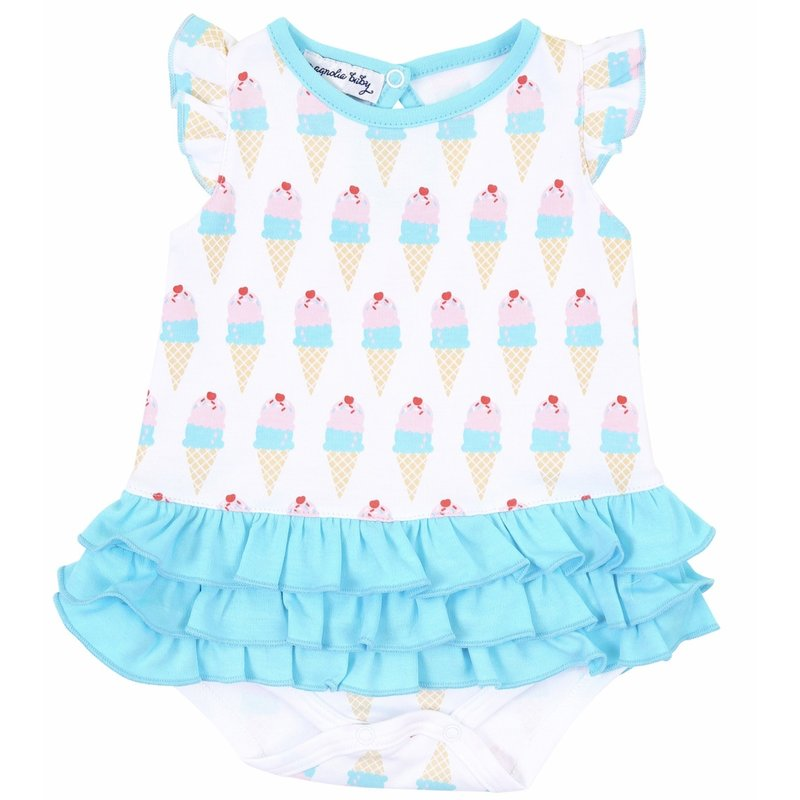 Magnolia Baby Magnolia Baby Two Scoops Printed Ruffle Flutters Bubble