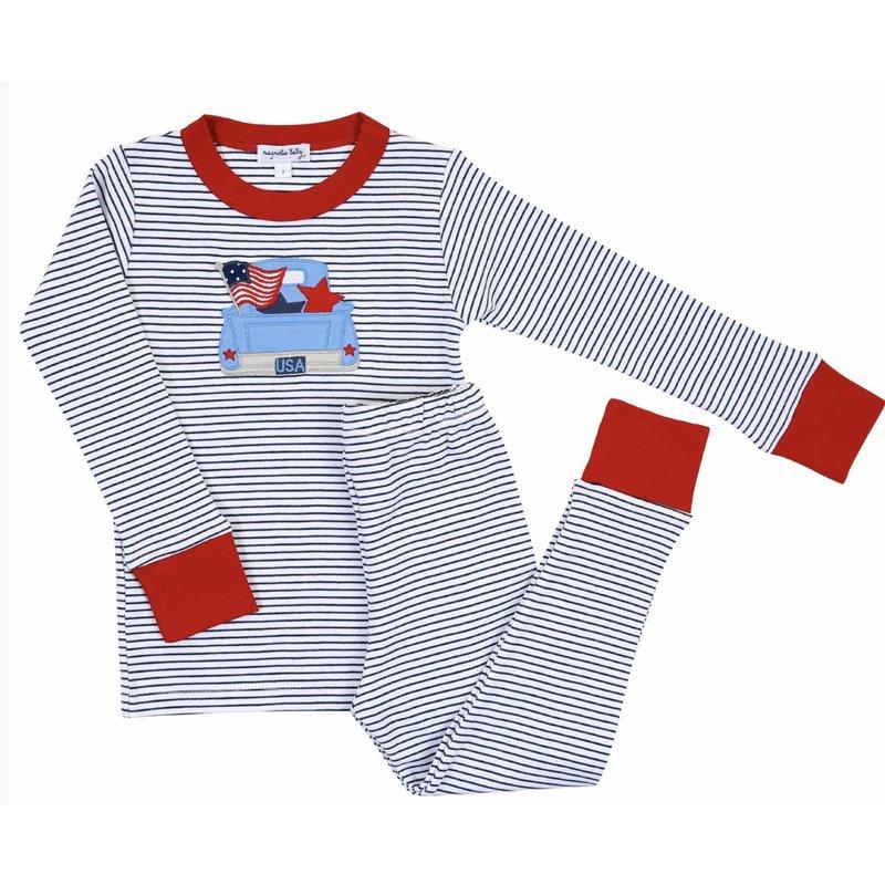 Magnolia Baby Magnolia Baby Stars and Stripes Applique Long Pajama