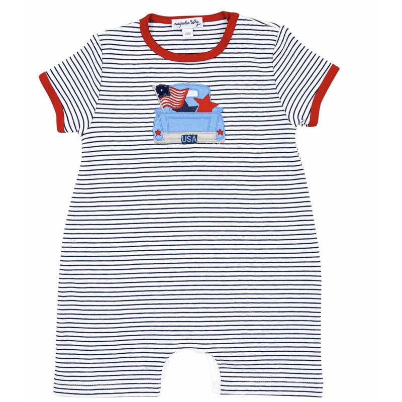 Magnolia Baby Magnolia Baby Stars and Stripes Applique Short Playsuit