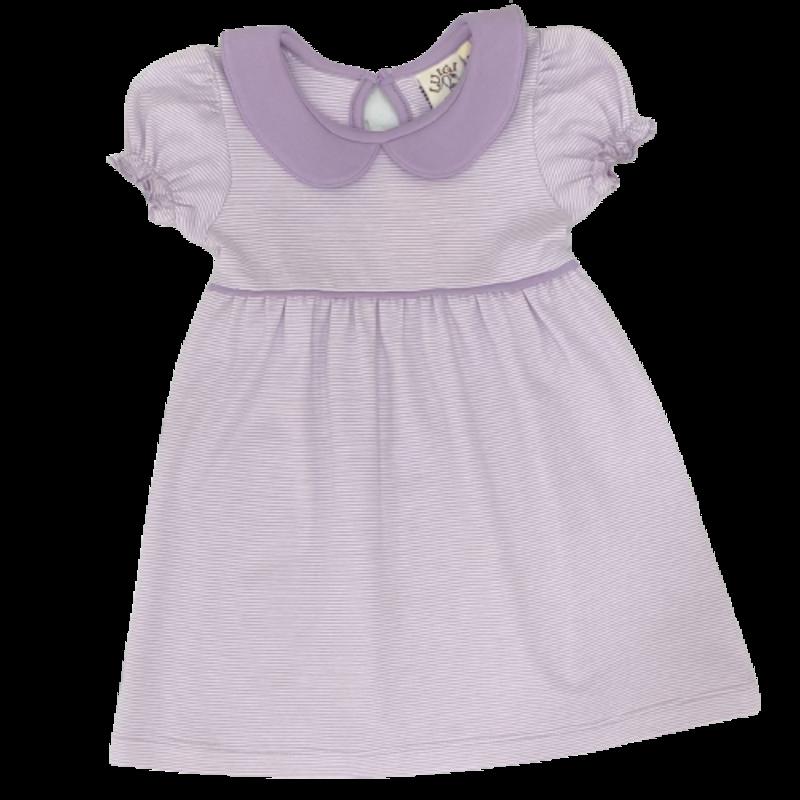 Luigi Luigi Lavender Mini Stripe Collared Dress