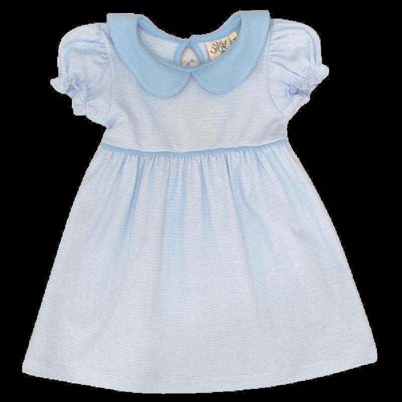 Luigi Luigi Baby Blue Mini Stripe Collared Dress