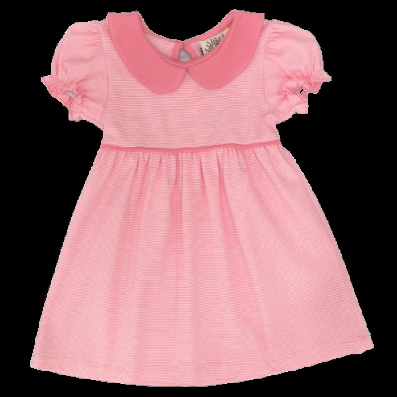 Luigi Luigi Light Bubblegum Mini Stripe Collared Dress