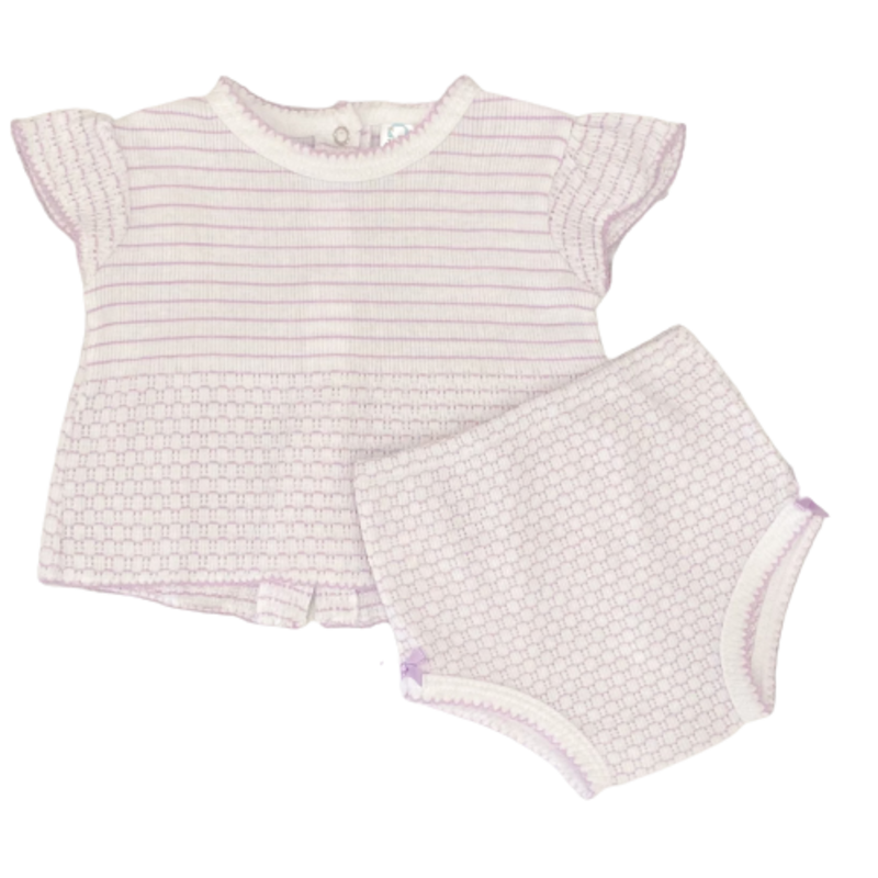 Paty Paty Lavender SS Top and Panty w/ Bows
