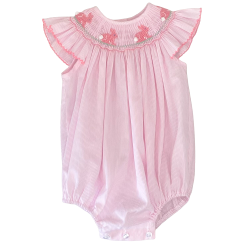 Petit Bebe Petit Bebe Pink Stripe Bunnies Bishop Bubble