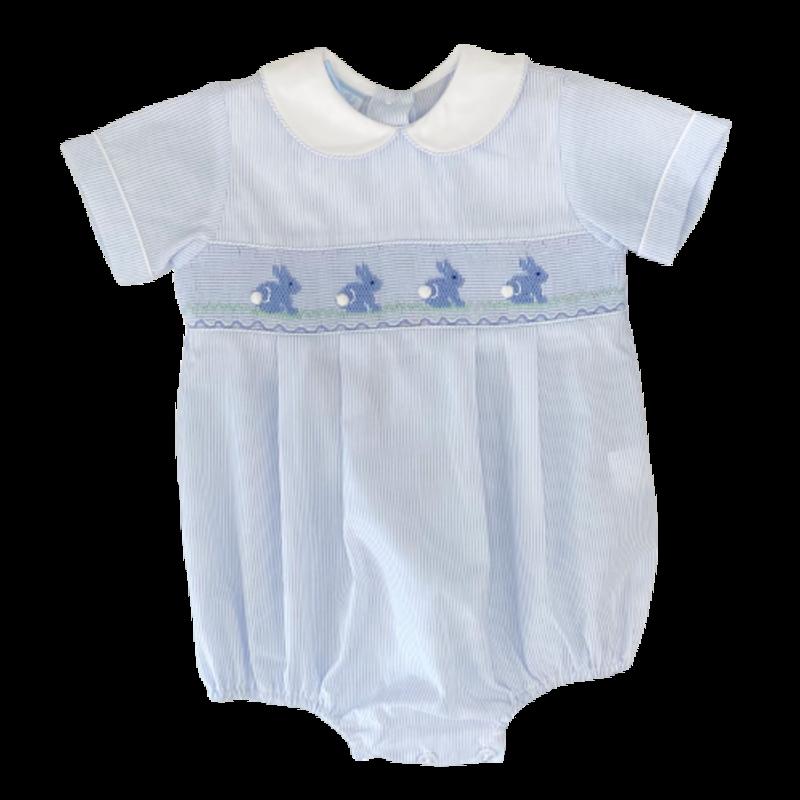 Petit Bebe Petit Bebe Blue Stripe Bunnies Bubble w/ Collar