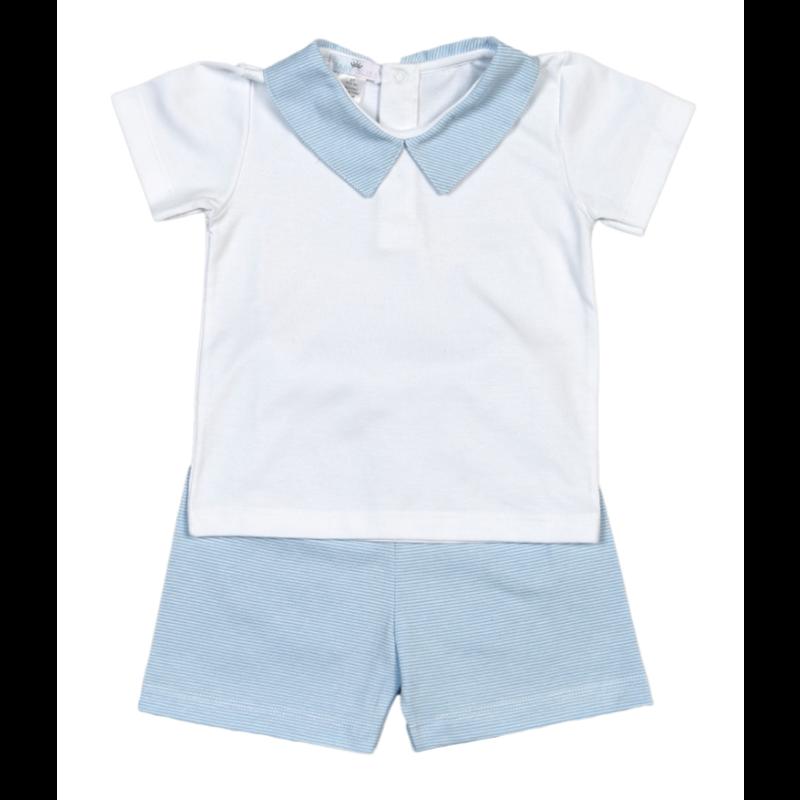 Baby Bliss Tony Blue Tiny Stripes Short Set
