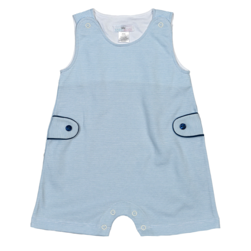 Baby Bliss Tony Blue Tiny Stripes Playsuit