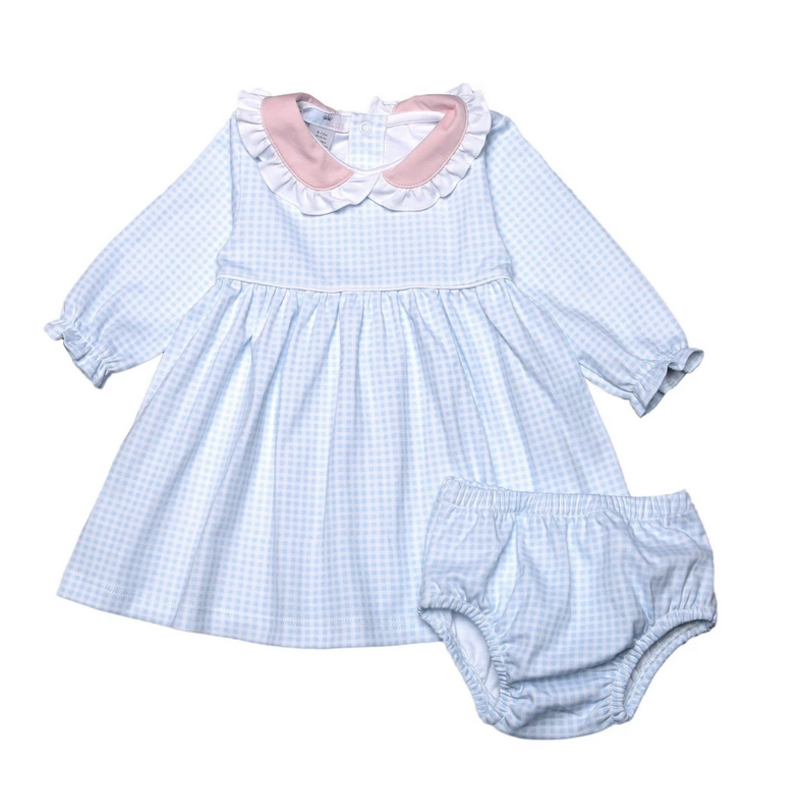 Baby Bliss Celeste Blue Gingham Baby Collar Pima Dress