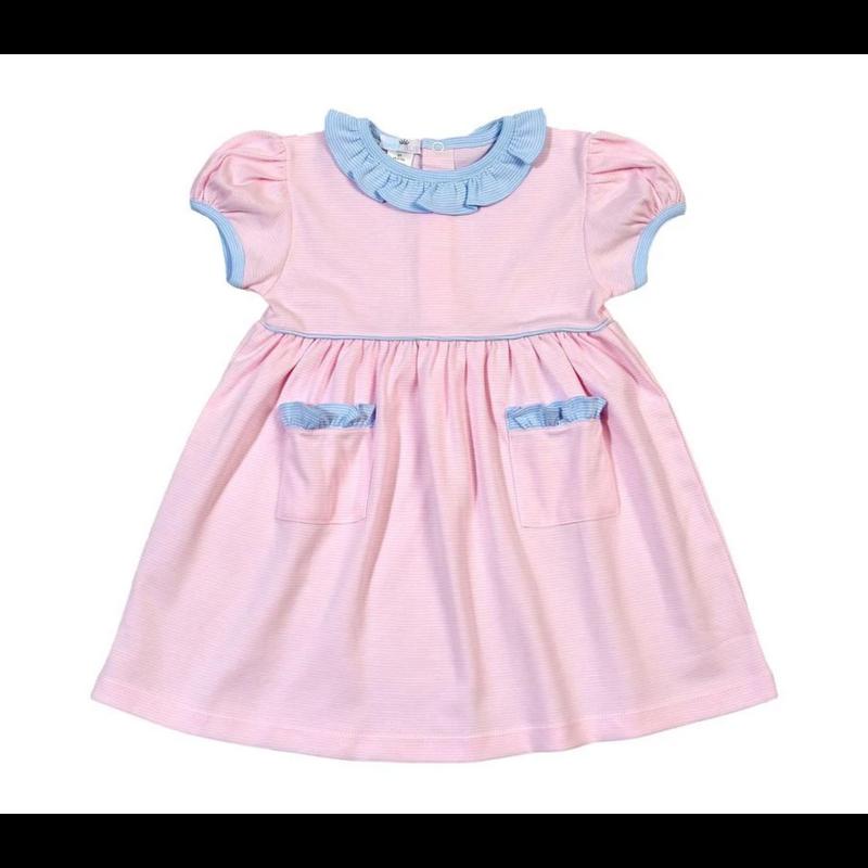 Baby Bliss Jay Pink Tiny Stripes Pima Dress