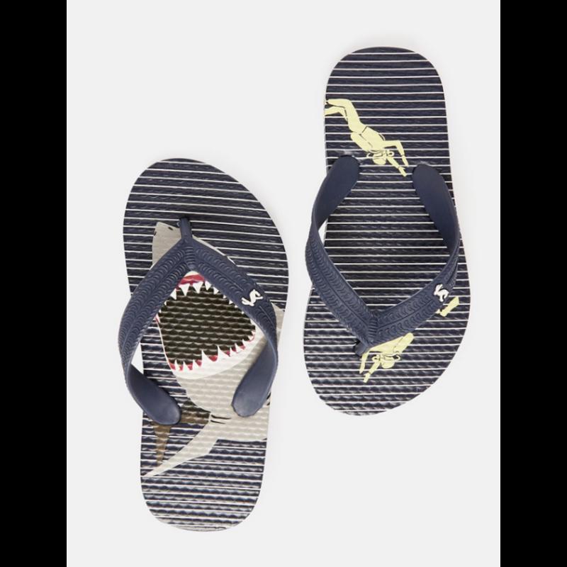 Joules Joules Blue Stripe Shark Flip Flops