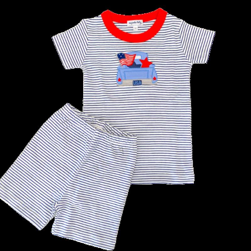 Magnolia Baby Magnolia Baby Stars and Stripes Applique Short Pajama