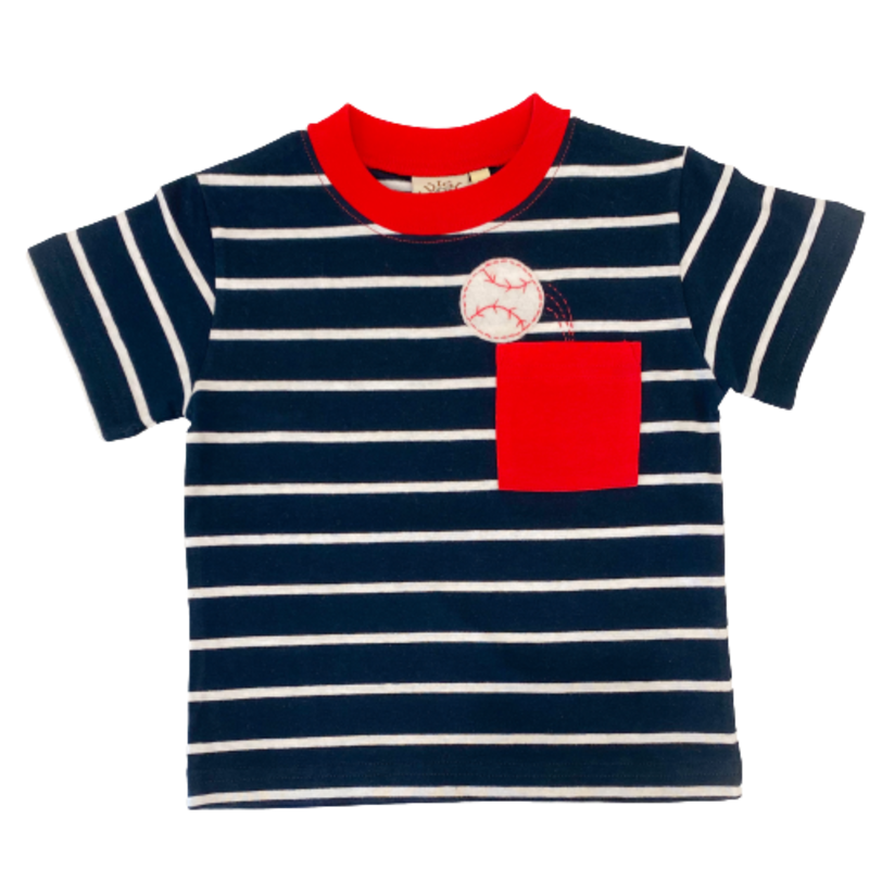 Luigi Luigi Stripe Baseball Pocket T-Shirt