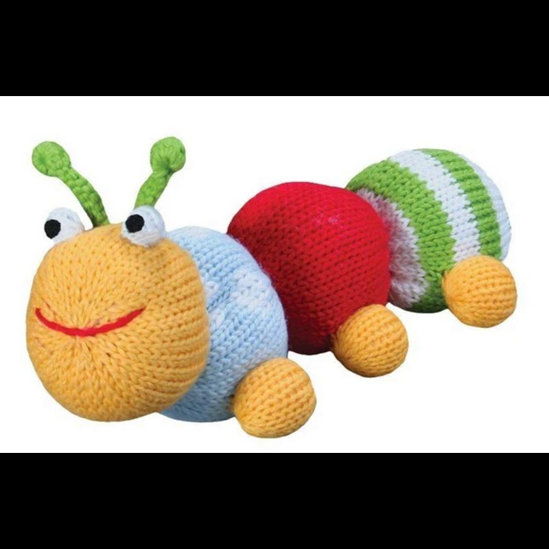 "Zubels Zubels Nibbles The Caterpillar 5"" Knit Rattle"